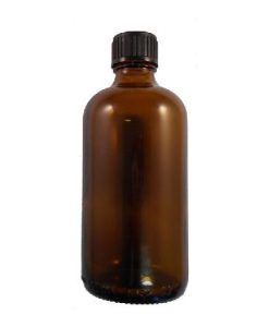 100ml Glass Amber Bottle - Black Dropper Cap