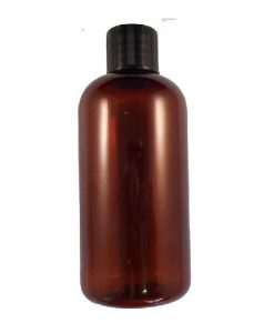 100ml plastic bottle amber with black cap