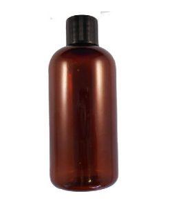 100ml plastic bottle amber with black cap