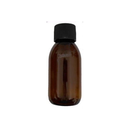 100ml wide neck glass amber bottle black cap