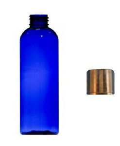 125ml blue plastic bottle with black cap