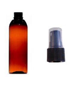100ml tall plastic bottle amber with black atomiser