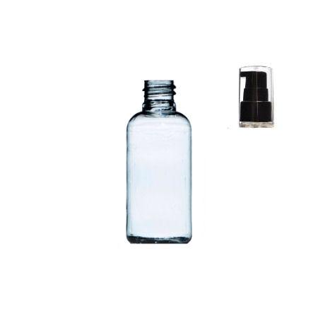 50ml Clear PET Plastic Boston Bottle with black pump